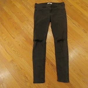 Hollister Ripped Black Straight Leg Jeans Size 9